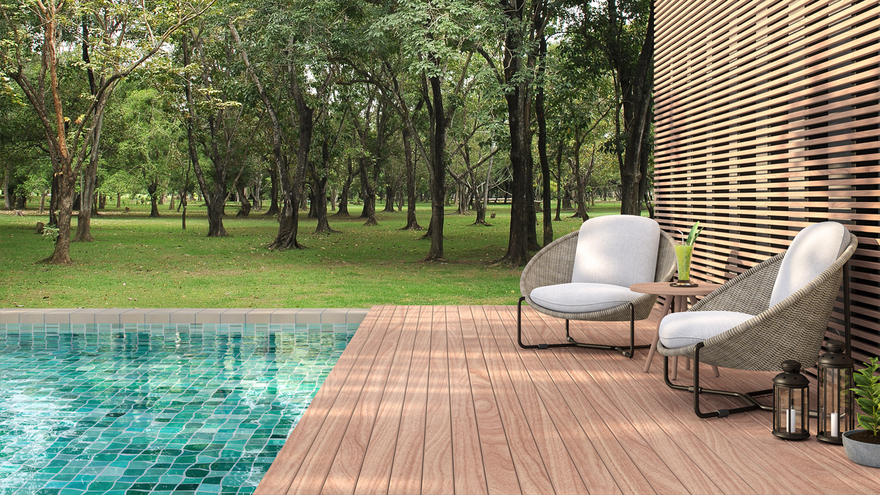 Outdoor swimming pool forest